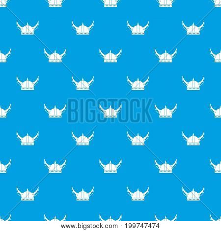 Viking helmet pattern repeat seamless in blue color for any design. Vector geometric illustration