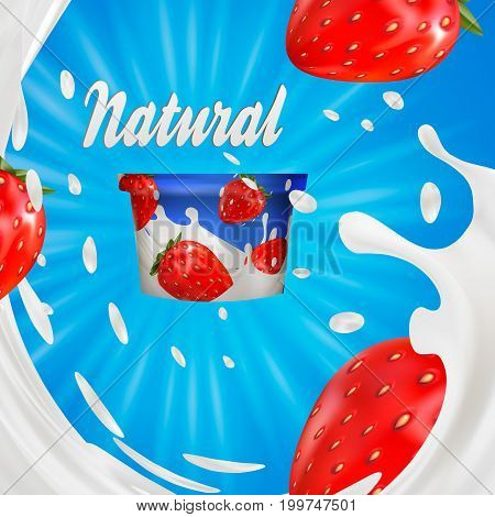 Milk ad or 3d strawberry yogurt flavour promotion. milk splash with fruits isolated on blue. instant oatmeal advertising, open field background, 3d illustration.