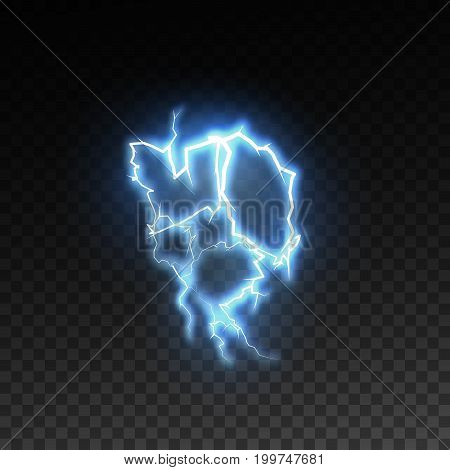 Realistic shiny lightning or electricity blast isolated on checkered transparent background. Electric discharge visual effect for design. Vector illustration