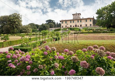 Castello Firenze ITALY - July 7 2017: The building and the formal garden of Villa La Petraia in former times residence of the Medici family is located in Castello near Florence.