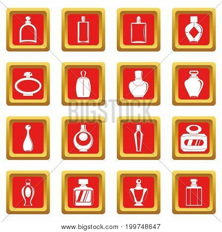 Perfume bottles icons set in red color isolated vector illustration for web and any design