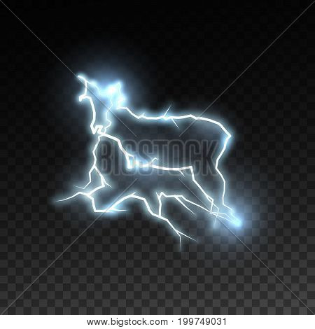 Electric discharge isolated on checkered transparent background. Electricity visual effect for design. Vector illustration. Thunderbolt or lightning natural effect