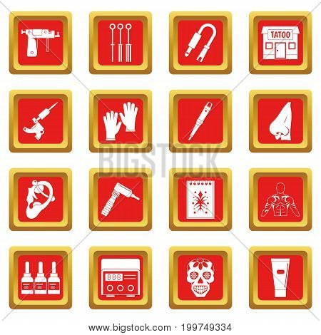 Tattoo parlor icons set in red color isolated vector illustration for web and any design