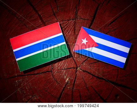Gambian Flag With Cuban Flag On A Tree Stump Isolated