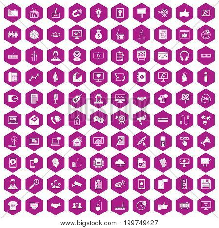 100 data exchange icons set in violet hexagon isolated vector illustration