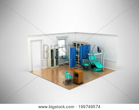 Isometric Dentist Office Blue 3D Rendering On Gray Background