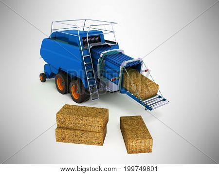 Press Pick-up For Hay Blue 3D Render On Gray Background