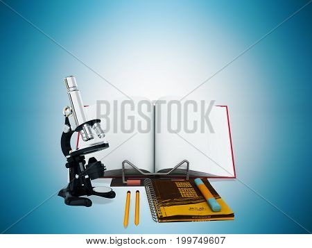 Concept Of School And Education Biology Microscope Notebook 3D Render On Blue Background