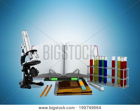Concepts Of School And Education Biology Test Tubes 3D Microscope Render On Blue Background