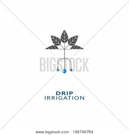 Drip irrigation icon. Vector logo design template for all types of soil irrigation.