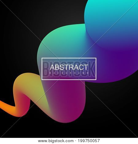 Abstract 3d colorful composition with smooth gradient shape. Vector artistic illustration. Vibrant gradient flowing stream. Liquid color path. Creativity concept. Visual communication poster design