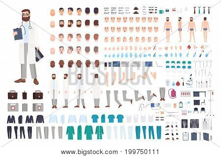 Doctor character constructor. Male doctor creation set. Different postures, hairstyle, face, legs, hands, accessories, clothes collection. Vector cartoon illustration Guy front side back view