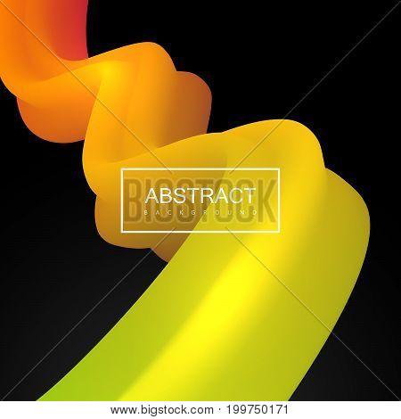 Abstract 3d colorful stripe. Vector artistic illustration. Vibrant gradient shape. Liquid color path. Creativity concept. Visual communication poster design
