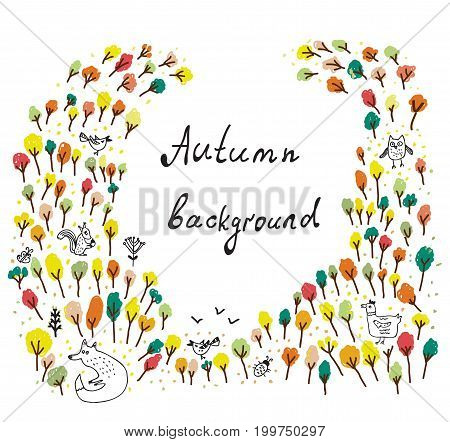 Autumn background with trees and animals. Vector graphic illustration