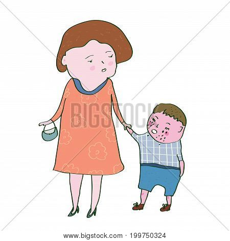 Crying child and mom illustration - problems in the family. Vector graphic