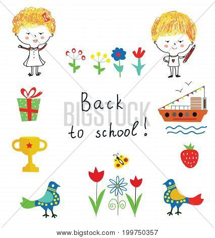 Back to school cute background with kids flowers and objects vector graphic illustration