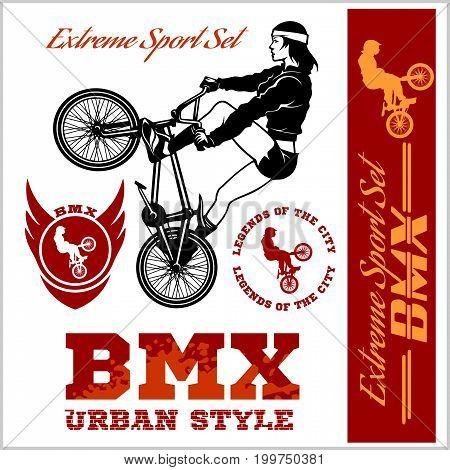 BMX t-shirt Graphics. Extreme bike street style - Vector BMX cyclyst on white