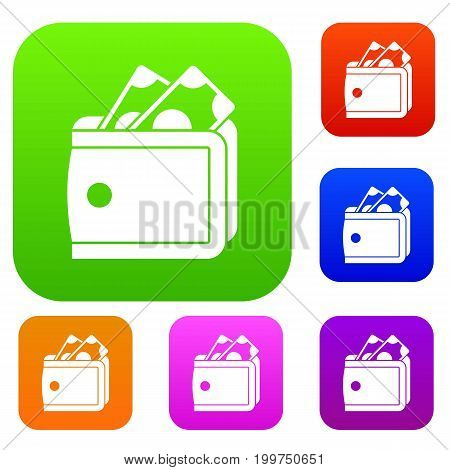Wallet with cash set icon in different colors isolated vector illustration. Premium collection