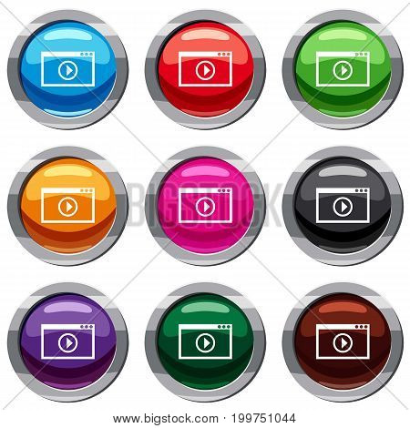 Program for video playback set icon isolated on white. 9 icon collection vector illustration