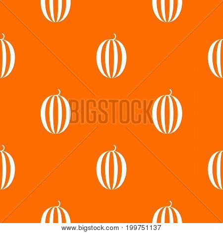 Striped melon pattern repeat seamless in orange color for any design. Vector geometric illustration