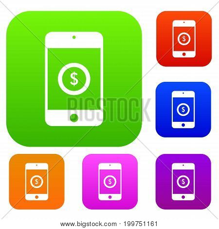 Smartphone with dollar sign on display set icon in different colors isolated vector illustration. Premium collection