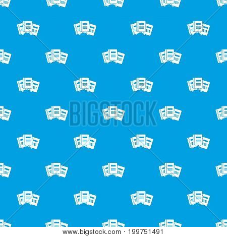 Three books with bookmarks pattern repeat seamless in blue color for any design. Vector geometric illustration