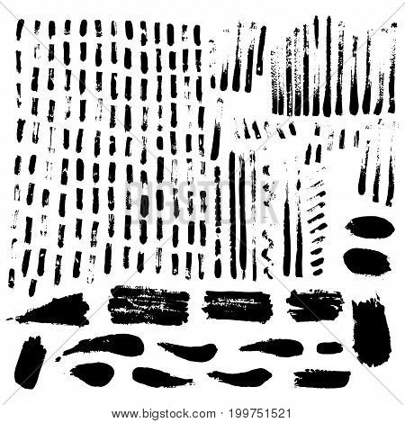 Large set of ink textures. Brush strokes - grunge background. Trace. Collection for design. Handmade. Vector illustration.