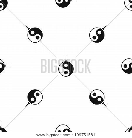 Yin Yang symbol pattern repeat seamless in black color for any design. Vector geometric illustration