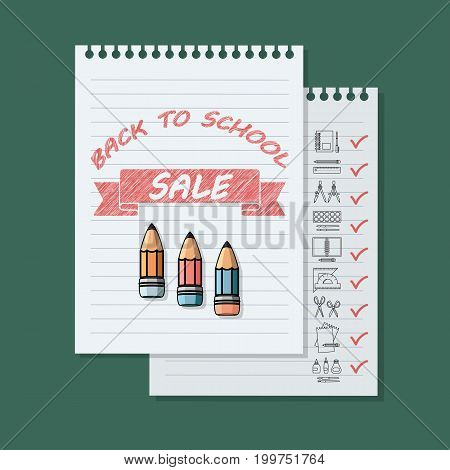 Back to school sale banner on green background. Vector illustration.