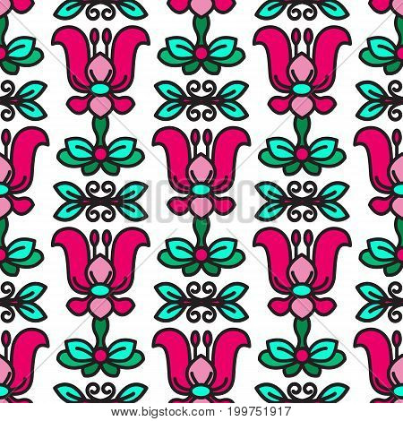 Vector Seamless pattern with flowers and leaves on white background.