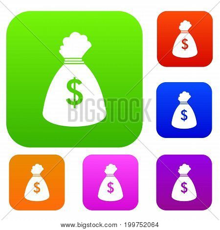 Money bag set icon in different colors isolated vector illustration. Premium collection
