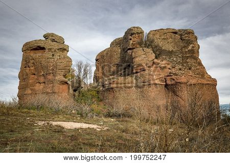 red sandstone monoliths next to Chequilla village, Province of Guadalajara, Spain