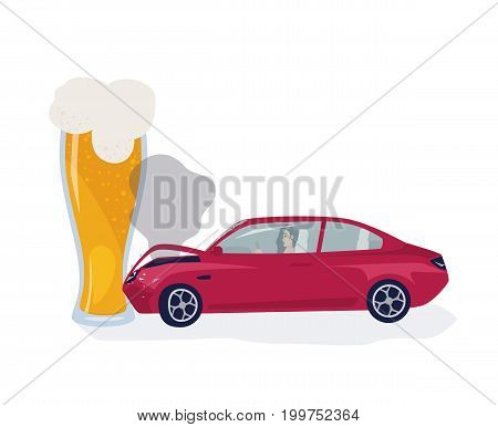 Drunk driver concept. Car crached into beer glass. Colorful vector illustration