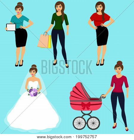 Collection of girls. A modern girl. Girl with ipad. Girl with shopping. Bride. Young mom. Isolated objects. Vector illustration.