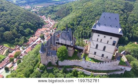 Aerial view of Medieval castle Karlstejn in Czech republic, Europe, Drone view