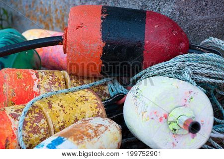 Pile Of Lobster Buoys