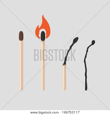 Burning match stages set. Matchstick with sulfur, burning and burned. Colorful flat vector illustration collection