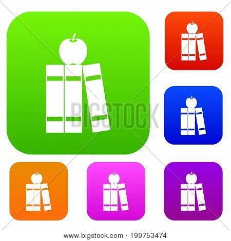 Stack of books and apple set icon in different colors isolated vector illustration. Premium collection