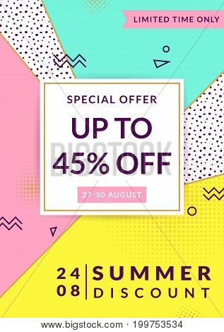 Summer sale. Discount flyer or banner template. Vector design in trendy geometric style.