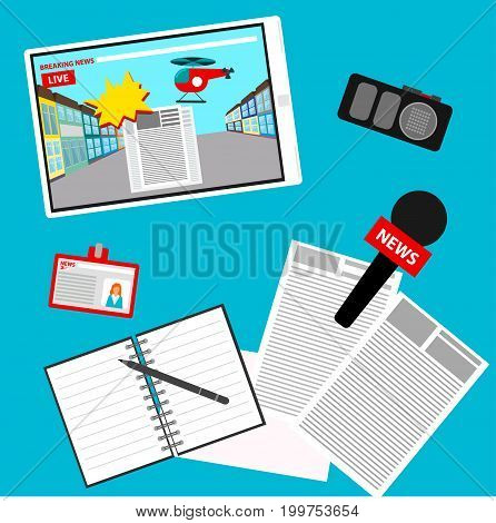 Breaking News Pattern Background. News Theme Cover In Trendy Flat Style