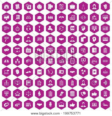 100 discussion icons set in violet hexagon isolated vector illustration