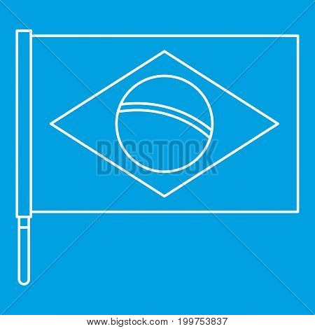 Brazilian flag icon blue outline style isolated vector illustration. Thin line sign