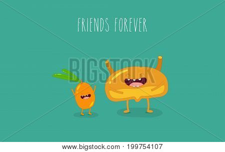 Healthy food for internal organs. Vector illustration.