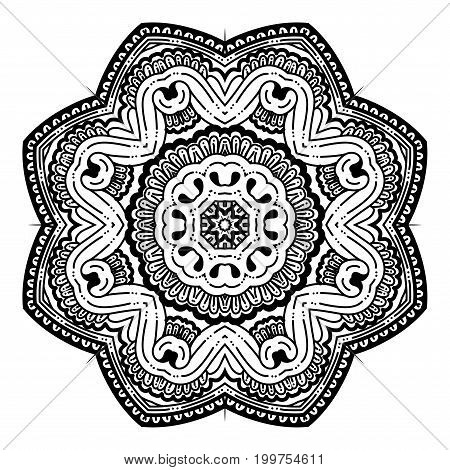 Outline Mandala for coloring book. Decorative round ornament. Anti-stress therapy pattern for adult. Weave design element. Yoga logo, background for yoga meditation poster