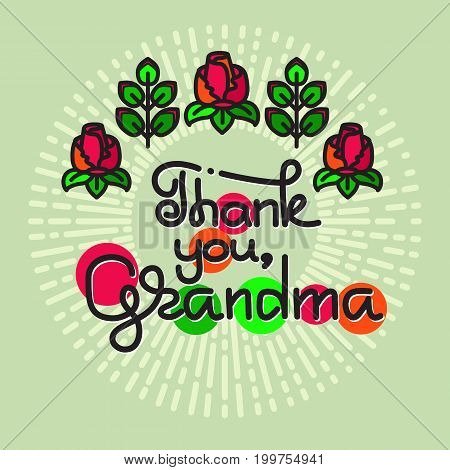 Thank You Grandma  handwritten lettering. Grandparents day emblems, logo. Vector illustration. Design for grandparents day greeting card, flyer, poster, banner or t-shirt.