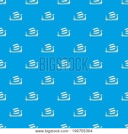 Medieval boat pattern repeat seamless in blue color for any design. Vector geometric illustration