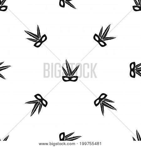 Carnival mask pattern repeat seamless in black color for any design. Vector geometric illustration