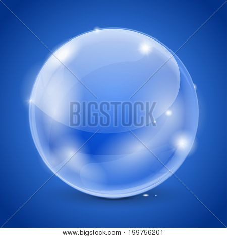 Blue glass ball. 3d shiny sphere. Vector 3d illustration on blue background