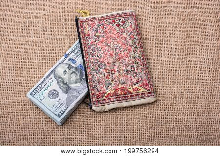 Banknote Of Us Dollar In A Purse