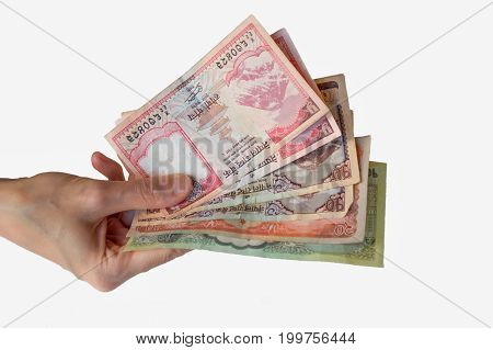 Woman Holding Nepal Rupees Notes In Her Hand